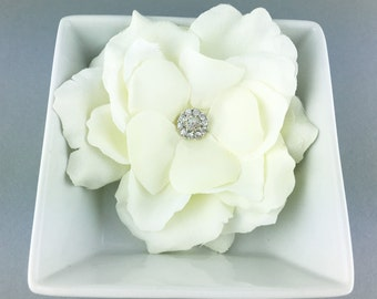 Gardenia jeweled rhinestone wedding hair flower clip, wedding hair accessories, wedding flower clip, hair flower clip, ivory hair flower