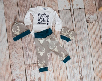 Newborn Coming Home Baby Deer Antlers/Horns Bodysuit, Hat, Scratch Mittens Set with Grey and Navy+ Hello World Bodysuit