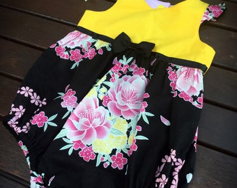 Baby Girl Tea Party Romper / Playsuit / Dress in Yellow Bouquet flowers size 1