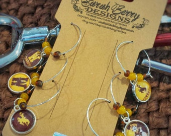 Wyoming Cowboys Wine Charms - Officially licensed University of Wyoming Product