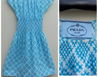 PRADA vintage 60s style blue abstract graphic print dress - size 42/L