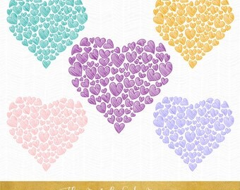 Valentine Scribble Heart Clipart - INSTANT DOWNLOAD - .png & .ai. files