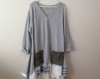 Upcycled Refashioned Clothing Boyfriend Style Shabby Boho Mori Cottage Lagenlook Grey Top Tunic. Women's Plus Size 3x 4x 5x.