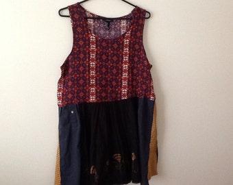 SALE Boho Ethnic Tunic Upcycled Clothing Refashioned Tribal Indian Shabby Rustic Hippie Babydoll Tank Top. Women's Size Medium.