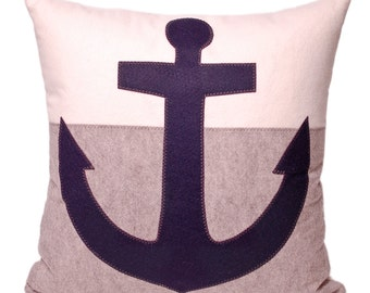"Blue, Gray, White - Navy Blue Anchor Color Block Decorative Throw Pillow 21"", Coastal Home, Nautical Decor, Beach House, The Salty Cottage"
