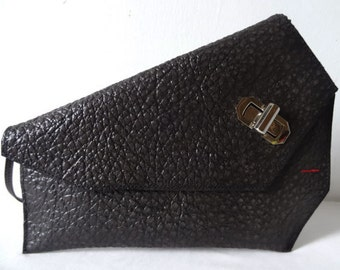 Karen Black Textured Asymmetrical Clutch