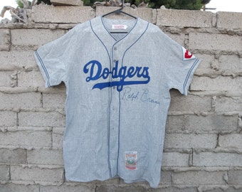 Dodgers Jersey sz Large Signed by Ralph Branca Hard to Find Grey blue Sports Memorabilia