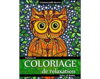 Bag #6-10 designs - relaxation coloring - owl, boat, panda, dragon, Chameleon, Flamingo, jellyfish, Tuscany, flowers