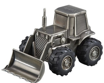 Personalized Pewter Finish Silver Frontloader Tractor Bank - Engraved Free