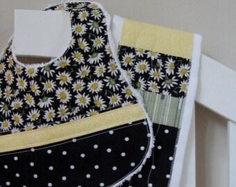 Baby Gift Set - Patchwork Bib + Applique Burp Cloth + Drawstring Gift Bag
