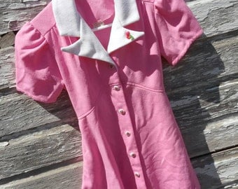 Vintage Girls Top, Pink with White Collar