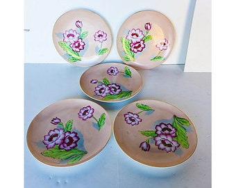Vintage Set of 5 hand-painted flower luncheon or salad plates with coral field and gilded edges.