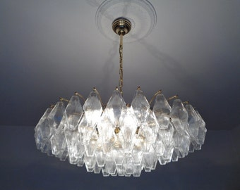 Italian clear Murano glass polyhedral chandelier