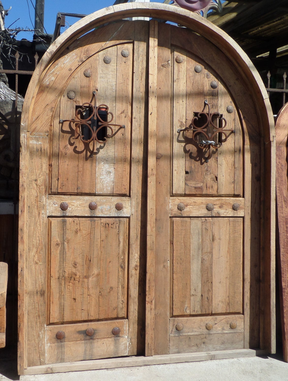 Reclaimed Lumber Rustic Arched Double Doors Comes W Hand