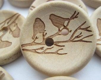 """6 Bird Buttons 20mm (3/4"""")  Wooden Birds on Branch Laser Cut Sewing Buttons Craft Buttons"""