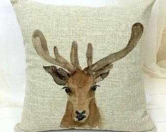 Watercolor Reindeer - Pillow Cover