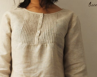 Women's Linen Tunic with Pin-Tucks
