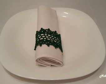 Crochet Napkin Rings, 100% Cotton, Sets of 4,8,12 Dark Green.