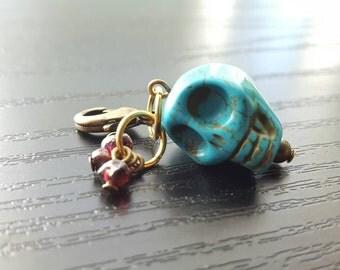 Planner Charm Turquoise Skull with Garnet