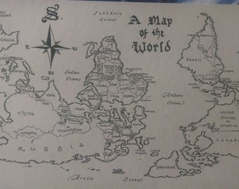 South-oriented world map, hand-drawn