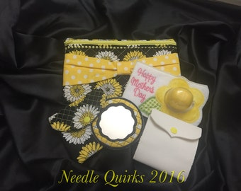 Mother's Day Black and Yellow Cosmetic Bag Gift Set