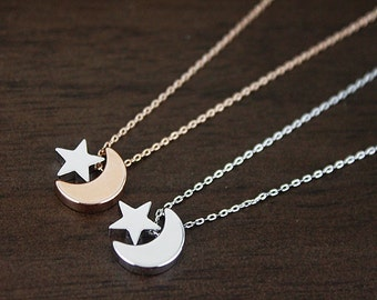 Rose Gold Moon and Star Necklace , Bridesmaid Necklace . Bridesmaid Gift Dainty and Simple Necklace Birthday Gift