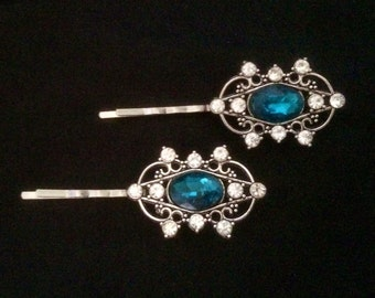 Set Of 2 Silver Metal Hair Pins Featuring Jeweled Ornaments With Aquamarine Faceted Crystals