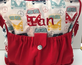 Personalized Diaperbag | red diaper bag | boutique style diaperbag | daycare bag | overnight bag |  VW car diaperbag | Volkswagon print