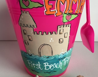 Personalized Sand Bucket | personalized sand pail | personalized beach bucket | sandcastle beach bucket | sand castle sand bucket