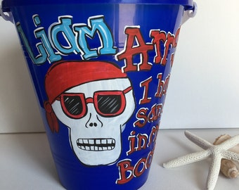 Personalized Sand Bucket - pirate sand bucket - pirate sand pail - sand pail - sand bucket - beach bucket - beach pail