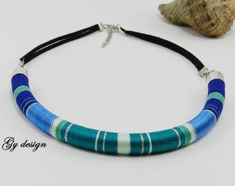 Ocean statement thread wrapped necklace rope necklace summer necklace choker necklace Sylentri rope necklace tube necklace bib necklace