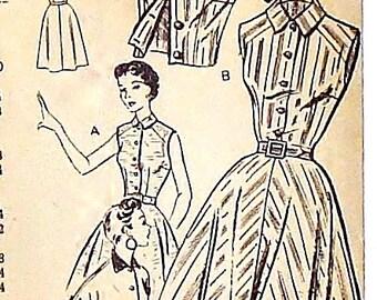 Vintage 50's Mail Order Dress & Jacket Sewing Pattern #2125 - Unprinted Pattern - Size 16 (Bust 34)