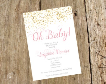 Gold Confetti Sparkle Invitation, Baby or Bridal Shower, Sweet 16, Bat Mitzvah