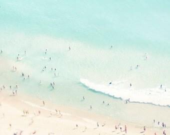 Large aerial beach photography, beach print, ocean print, people photo, dreamy beach wall, fine art print, Portugal, wall decor, home decor