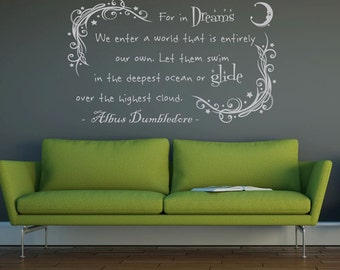 In your dreams,dumbledore, wall decal vinyl sticker, childrens bedroom , house decoration, childrens decor,  harry potter wallpaper