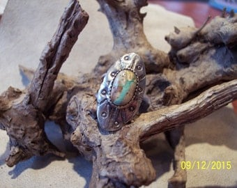 Royston Ribbon Turquoise Sterling Concho ring.