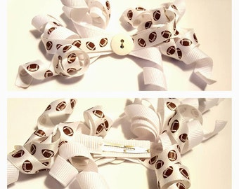Football Curly Ribbon Hair Clip