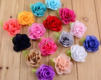 Chiffon Flowers , Chiffon Flowers with Green Leaf, Headband Flower,DIY