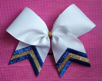 Blue and Gold Triple Sparkle Bow