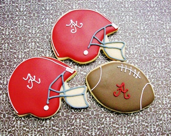 Football Decorated Cookies (12) Large Sugar Cookies Tailgate Party Favors Football Helmet