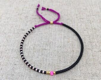 Fine Bead Bracelet, Black & Light Pink Bead Stack Bracelet, Friendship Bracelet, Gift for her
