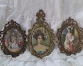 Stunning Antique Set Of 3 French Ornate Gilt Romantic Paris Frames Italy