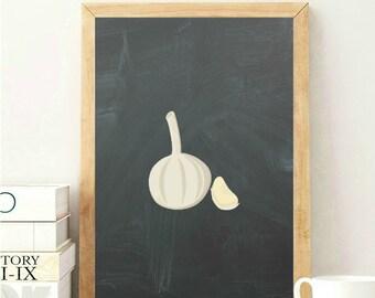 Garlic Kitchen Print, Garlic Onion Print, Kitchen Wall Print, Food Wall Print, Food Garlic Print, Garlic Wall Decor, Chalkboard Wall Print