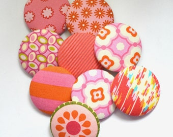 Set of 9 large 2 inch assortment of Pink and Orange fabric covered Sewing Buttons