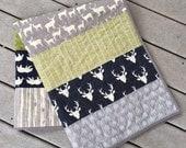 Baby/toddler deer quilt in navy and green, bear, deer, buck, arrows, woodland, southwest, hello bear