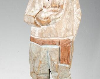 "Sweden carved wood Trygg? standing old man figure 5 1/8"""