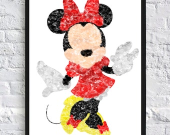 Minnie Mouse Watercolour - Framed
