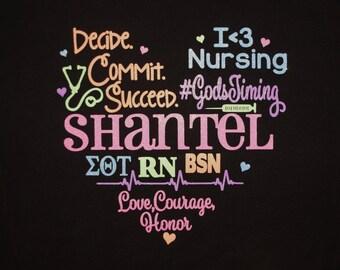 Custom Glitter Nurse Shirt, Hoodie, Sweatshirt.  Made for your degree, occupation, colors, class, team or group!  Word art shirt