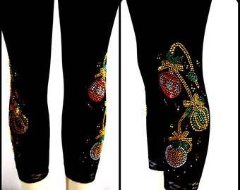 Plus Size Capri Length Leggings Embellished Rhinestone Xmas Ornaments Design