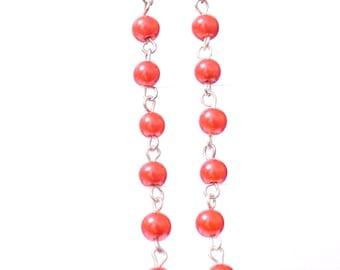 Beaded earrings,  red beaded earrings,  red earrings,  red pearl earrings,  pearl chain earrings,  earrings